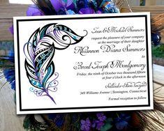 "Printable Wedding Invitation Template - ""Stained Glass Feather"" Regency Purple Malibu Turquoise - DIY Wedding Template - Peacock Feather by PaintTheDayDesigns on Etsy"