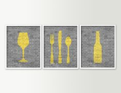 Modern Dining Room Art Kitchen Prints - Beer Wine Fork Knife Spoon - Set of 3 Dining Room Decor - Kitchen Wall Art - Wine Prints