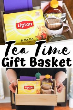 This easy DIY tea gift basket makes a terrific gift for the tea lover in your li. This easy DIY tea gift basket makes a terrific gift for the tea lover in your life for birthdays, M Diy Gifts For Mom, Diy Gifts For Friends, Diy Mothers Day Gifts, Best Friend Gifts, Birthday Presents For Best Friend, Mother Birthday Gifts, Best Birthday Gifts, Husband Birthday, Birthday Ideas