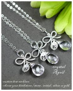 Bridesmaid gifts, wedding jewelry, Silver Bow necklace , Tie the Knot necklace bridesmaids, bridal party jewelry,crystal birthstone or pearl on Etsy, $35.99 Silver Wedding Jewelry, Bridal Party Jewelry, Wedding Jewellery Gifts, Wedding Gifts, Wedding Stuff, Pinwheel Wedding, Plan My Wedding, Dream Wedding, Wedding Ideas