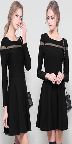 Sexy Hollow Out Gauze Spliced Long Sleeve Slim Fit Dress #elegant