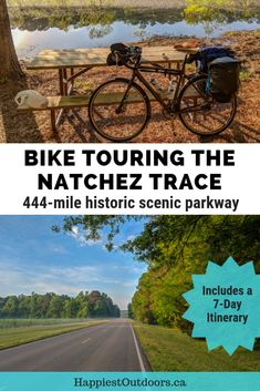 Week long itinerary for a cycle tour on the Natchez Trace Parkway - a 444-mile historic road from Nashville, TN to Natchez,