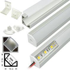 Aluminium extrusion profile housing corner mount for flexible LED strips or rigid LED light bars under 10-12mm wide.