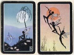 Swap Cards_fairies_black_on blue, pink