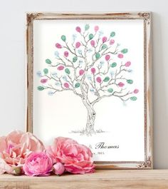 """Wedding Fingerprint tree guest book. """"Twisted tree"""" design. image A3 size. Also available in A4 & A2 20 -120 guest. Over 50 ink colour choices, plus font selections. See our large range of other unique designs when you visit our website."""