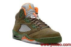 Air Jordan 5 V Retro Shoes - Army Olive Orange