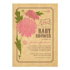 "Vintage Floral Garden Party Baby Shower Invite 5"" X 7"" Invitation Card"