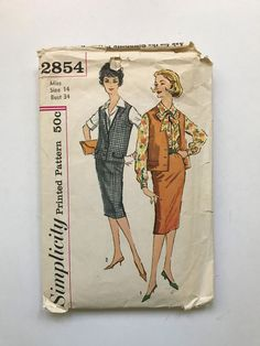 Simplicity 2854 Size 14 Bust 34 Vintage Sewing Pattern Sixties 60's Suit Blouse Pencil Skirt Vest Jackie O Pussy Bow Retro Dressmaking by TinySparrowTreasures on Etsy