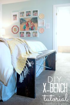 DIY x-bench tutorial - wood and metal bench. Great for the end of a bed or an entryway.