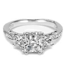 Three-stone Princess Cut Diamond Engagement ring from Tacori. *wow* by althea