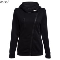 Women Autumn & Winter Zipper Sweatshirts V Neck Long Sleeve Warm Hoodies NEW!!