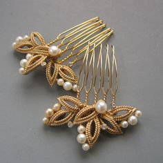 Matte Gold and Pearl Accent Combs by LoveHonorUpcycle on Etsy