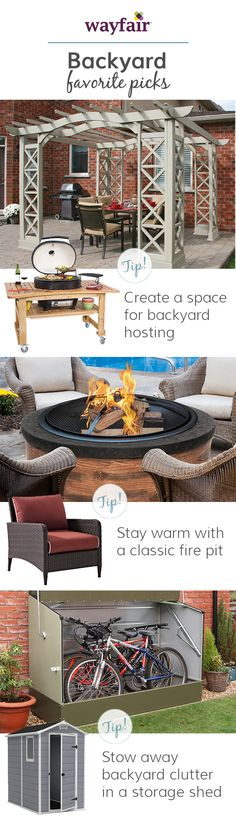 Make your backyard a space your whole family will be clamoring to spend time in. Keep clutter to a minimum and create different areas for specific activities. Visit Wayfair and sign up today to get access to exclusive deals everyday up to 70% off. Free shipping on all orders over $49.