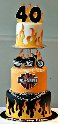 4 Super Genius Useful Tips: Harley Davidson Sportster Posts harley davidson clothing website.Harley Davidson Models Products harley davidson forty eight orange.Harley Davidson Forty Eight Blue. Motorcycle Birthday, Motorcycle Cake, Unique Cakes, Creative Cakes, Bolo Harley Davidson, Harley Davidson Tattoos, Harley Davidson Birthday, Harley Davidson Jewelry, Beautiful Cakes