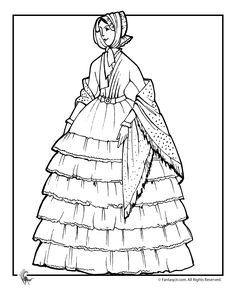 victoria coloring dresses | Fantasy Jr. | Victorian Doll with Ruffled Dress Coloring Page