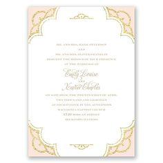 radiant wedding invitation - coral | gold glitter wedding invites at Invitations By Dawn