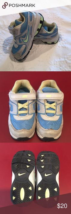 Nike sneakers Gently used Nike sneakers. Has some small stains but tons of use left. Green and light blue with gray. Little kids 7.5. Nike Shoes Sneakers
