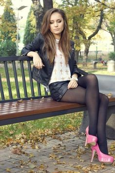NSFW - I love womens legs. Even more so when she is wearing nylon of some type with high heels. Pantyhose, stockings, tights, they all make a woman's legs look and feel the best. Tights And Heels, Tights Outfit, Black Tights, Shiny Pantyhose, Nylons, Pantyhose Outfits, Women Legs, Sexy Women, Pantyhosed Legs
