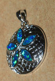 blue fire opal necklace pendant gemstone silver jewelry elegant flower design HE #Pendant