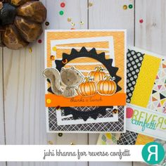 Card critters squirrel pumpkin fall autumn thanksgiving by Juhi Khanna. Reverse Confetti stamp set: Nuts About You. Confetti Cuts: Nuts About You, Wonky Stripe Panel and Boo To You Circle. RC paper pad: Every Little Bit. Thank you card. Halloween Cards, Fall Halloween, Thanks A Bunch, Friendship Cards, Fall Cards, Thanksgiving Crafts, Card Sketches, Autumn Theme, Crafty Projects