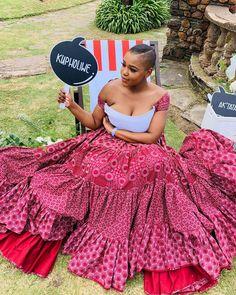 African Wedding Attire, African Attire, African Dress, African Weddings, Setswana Traditional Dresses, South African Traditional Dresses, African Print Fashion, African Fashion Dresses, African Prints