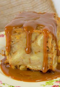 Apple Bread Pudding with Dulce de Leche Sauce