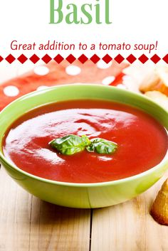 Basil and origanum can be added to a tomato soup or where tomato is used as one of the main ingredients