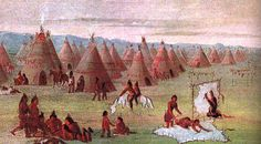 """(Image:  A Comanche Village in 1834 by George Catlin)  """"The Comanches were almost as new to Texas as the Spanish. They came from way up north from northern Colorado. The Comanches were once part of the Shoshone Indians. The Comanche language and the Shoshone language are still almost the same. Bands of Comanches began moving south. By around 1740 they first showed up in the Texas panhandle."""""""