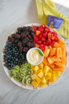 Make a pretty fruit platter with a simple yogurt dip that will glow up your whole wellness routine! Add 3 drops of vanilla to 1 container of @lightandfit Collagen & Antioxidants Mango Kiwi Yogurt, mix + drizzle with honey. #LightandFit Collagen yogurt has 15g of protein, including 2g of collagen--makes it a healthy option for moms on the go. It's a nutrient-dense food that you can feel good about adding to your daily routine. Zero added sugar*, 6g total sugar (*not a low calorie food)…