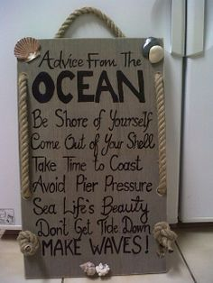 Made this for the guest bathroom downstairs. Love the play on words connected to the Ocean and the pebbles, coral, shells and rope help create that coastal theme.