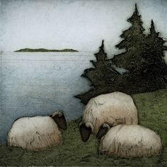 """Island Three"" by Kathleen Buchanan. Beautiful collagraph prints, love this artist! Sheep Paintings, Animal Paintings, Illustrations, Illustration Art, Painting & Drawing, Watercolor Paintings, Watercolour, Collagraph Printmaking, Sheep Art"