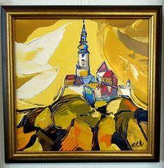 Pohľad na hradný kopec, www.turzak-art.sk, #nitra #obrazynitry, #nitrahrad, #turzakart, akryl a modelovacia pasta, 45 x 45 cm,2019 Painting, Art, Craft Art, Paintings, Kunst, Gcse Art, Draw, Drawings, Art Education Resources