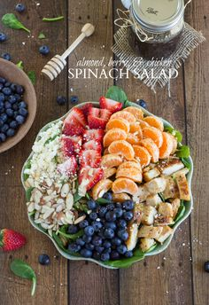 Almond Berry and Chicken Spinach Salad with a delicious and easy dressing!