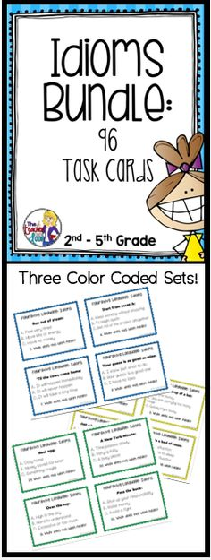 Updated! This Task Card Bundle for Idioms has 3 color coded sets of Common Core task cards (96 cards) that will help your students learn and review the meaning of idioms. These idiom task cards are perfect for all students whether they are English speakers, ESL students, or kids in special education. Each card has a common idiom example, as well as three possible meanings. (TpT Resource)