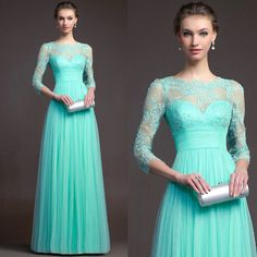 Free Shipping 2014 A Line Elegant Green Lace Tulle Formal Gowns Homecoming Prom Dresses with Sleeves $132.16