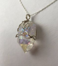 Gorgeous double sided Sterling Silver & Angel Aura Quartz