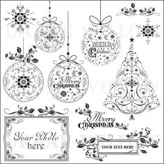 Christmas Flourishes - Vintage style clip art. Digital images for small commercial and personal use.