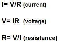 Ohm's Law: relates current, voltage, and resistance. Does not apply to all materials - applies to conductors!