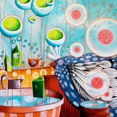 """Ciel bleu"", 80x80cm by Sandrine la Sardine"
