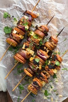 Perfect for summertime grilling, these sweet potato skewers with halloumi are filling and are packed full of spicy flavor by using tahini and sriracha.