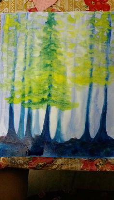 Naaktzadigen schildering Wet On Wet Painting, Blue Painting, Painting & Drawing, Crayon Drawings, Crayon Art, Kids Watercolor, Watercolor Paintings, Watercolour, Drawing Lessons