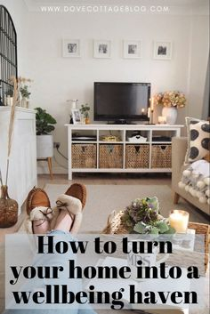 Simple ways to turn your home into a calming space, perfect for boosting your mental health and wellbeing. Tips on how to choose relaxing tones, declutter your home, and create somewhere you'll feel motivated to work in Small House Living, Home And Living, Living Rooms, Cosy Lounge, Lounge Decor, Soft Play Centre, Small Room Design, Storage Spaces, Storage Ideas