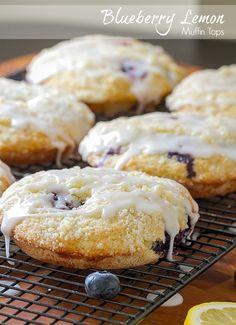 Blueberry Lemon Muffin Tops with Lemon Glaze
