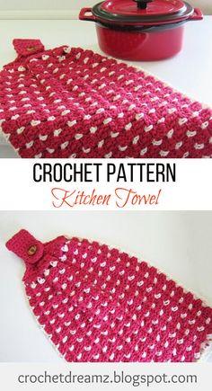 Crochet a Block Stitch Kitchen or Tea Towel using this Free Crochet Pattern. #crochetkitchentowel, #crochetteatowel, #crochetkitchentowelpattern, #crochetteatowelpattern, #freecrochetkitchentowel, #freecrochetteatowel