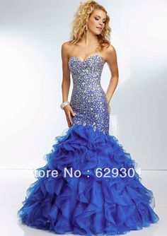 Sweetheart free shipping wholesale beaded sequined custom-made 2014 royal blue mermaid prom dress Qp327 US $179.99