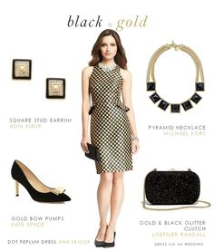 Black and Gold Dot Dress