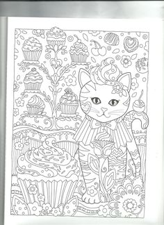 Cupcake Cat Coloring PageAdult PagesColoring BooksZentanglesTangle