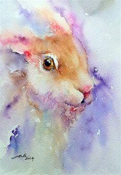 "Daily+Paintworks+-+""Purple+Glow+Hare+Portrait""+-+Original+Fine+Art+for+Sale+-+©+Arti+Chauhan"