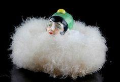 ANTQUE GERMAN ART DECO GERMAN POWDER PUFF SWAN'S DOWN HALFDOLL | eBay