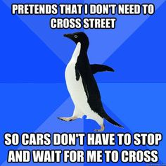 Holy crap I actually do this- I even feel awkward when they stop at zebra crossings